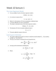 ECON10005 Lecture Notes - Lecture 9: Dependent And Independent Variables