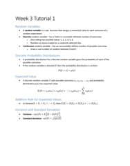 ECON10005 Lecture Notes - Lecture 3: Marginal Distribution, Joint Probability Distribution, Random Variable