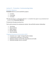BUS 343 Lecture Notes - Lecture 9: Integrated Marketing Communications, Promotional Mix, Direct Marketing