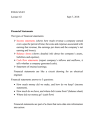 ENG M401 Lecture Notes - Lecture 2: Financial Statement, Retained Earnings, Cash Flow