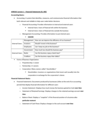 AFM101 Lecture Notes - Lecture 1: Management Accounting, Cash Flow Statement, Retained Earnings