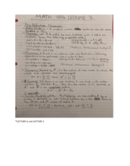 MATH 1104 Lecture 4: Notes for Lecture 4