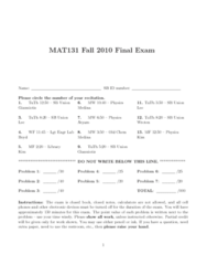 PHY 131 Study Guide - Final Guide: Ellipse, Maxima And Minima, Asymptote