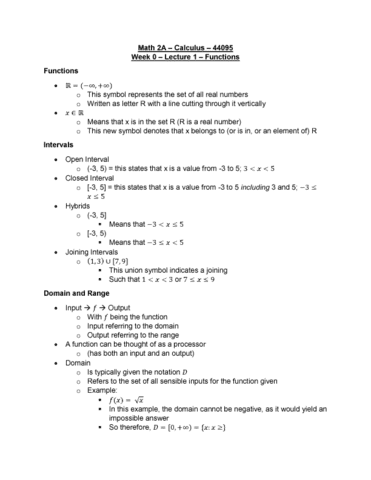 Math 2a Lecture Notes Fall 2018 Lecture 1 Piecewise Set Notation