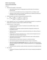 BIOC32H3 Lecture Notes - Lecture 3: Resting Potential, Goldman Equation, Membrane Potential