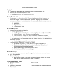 SOC 808 Lecture Notes - Lecture 1: Food Studies, Food Systems, Food Desert