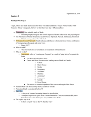 PSYC 208 Lecture Notes - Lecture 1: Thanatology, Senescence