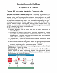 MKT 201 Study Guide - Final Guide: Integrated Marketing Communications, Direct Marketing, Sales Promotion