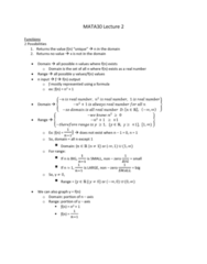 MATA30H3 Lecture Notes - Lecture 2: Inverse Function, Even And Odd Functions, Completing The Square