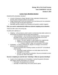 BIOL 180 Lecture Notes - Lecture 9: Gregor Mendel, Mendelian Inheritance, Hemoglobin