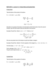 MATH-M 119 Lecture Notes - Lecture 19: Quotient Rule, Product Rule, Microsoft Powerpoint