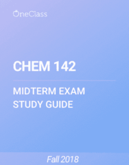 CHEM 142 Study Guide - Fall 2018, Comprehensive Midterm Notes -