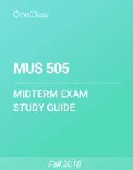 MUS 505 Study Guide - Fall 2018, Comprehensive Midterm Notes - Rock And Roll, Rhythm And Blues, Electric Guitar