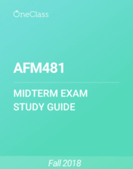 AFM481 Study Guide - Spring 2018, Comprehensive Midterm Notes - Atomic-Force Microscopy, Variable Cost, Fixed Cost