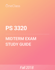 PS 3320 Study Guide - Fall 2018, Comprehensive Midterm Notes - Wwor-Tv, Uch, Ter Normandie