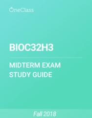 BIOC32H3 Study Guide - Fall 2018, Comprehensive Midterm Notes -