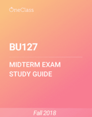 BU127 Study Guide - Fall 2018, Comprehensive Midterm Notes - Trial Balance, Retained Earnings, Income Statement
