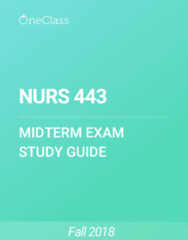 NURS 443 Study Guide - Summer 2018, Comprehensive Midterm Notes - Syndrome, Fever, Tobacco Smoking
