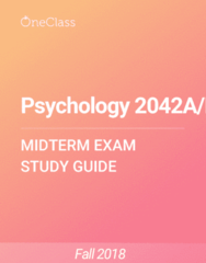 Psychology 2042A/B Study Guide - Winter 2018, Comprehensive Midterm Notes - Prefrontal Cortex, Major Depressive Disorder, Anxiety