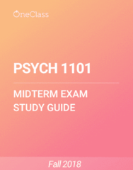 PSYCH 1101 Study Guide - Fall 2018, Comprehensive Midterm Notes - Scientific Method, Random Assignment, Functional Magnetic Resonance Imaging