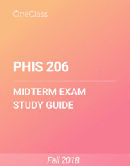 PHIS 206 Study Guide - Spring 2018, Comprehensive Midterm Notes - Protein, Homeostasis, Capillary