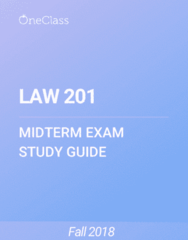 LAW 201 Study Guide - Summer 2018, Comprehensive Midterm Notes - Kaustinen, Canada, Common Law