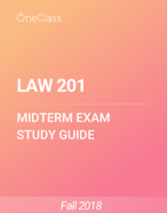 LAW 201 Study Guide - Summer 2018, Comprehensive Midterm Notes - Canada, Common Law, Criminal Code