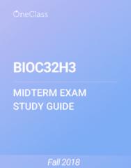 BIOC32H3 Study Guide - Fall 2018, Comprehensive Midterm Notes - Membrane Potential, Electrophysiology, Neuron