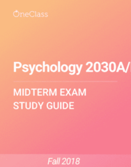 Psychology 2030A/B Study Guide - Fall 2018, Comprehensive Midterm Notes - Schizophrenia, Major Depressive Disorder, Anxiety