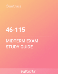 46-115 Study Guide - Fall 2018, Comprehensive Midterm Notes - Memory, Psychology, Prefrontal Cortex