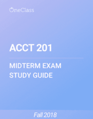 ACCT 201 Study Guide - Winter 2018, Comprehensive Midterm Notes - Income Statement, Retained Earnings, Accounts Payable