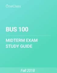BUS 100 Study Guide - Spring 2018, Comprehensive Midterm Notes - United States Dollar, Time Management, Wood