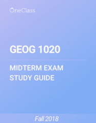 GEOG 1020 Study Guide - Summer 2018, Comprehensive Midterm Notes -