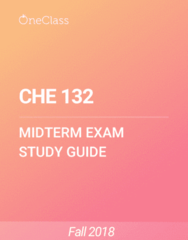 CHE 132 Study Guide - Spring 2018, Comprehensive Midterm Notes -