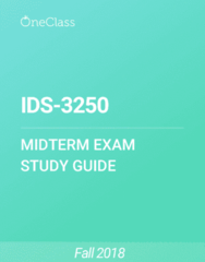 IDS-3250 Study Guide - Summer 2018, Comprehensive Midterm Notes -