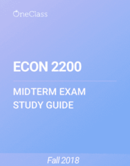 ECON 2200 Study Guide - Winter 2018, Comprehensive Midterm Notes - Deflation, Money Supply, Recession