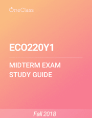 ECO220Y1 Study Guide - Summer 2018, Comprehensive Midterm Notes - Variance, Pearson Product-Moment Correlation Coefficient, Standard Deviation