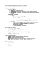 COMM 1000 Lecture Notes - Lecture 2: Scientific Method, Content Analysis, Ethnography