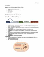 01:119:115 Lecture Notes - Lecture 15: Polyadenylation, Tata Box, Ribosomal Rna