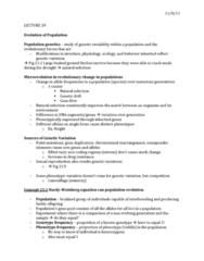 01:119:115 Lecture Notes - Lecture 20: Gamete, Stabilizing Selection, Heterozygote Advantage