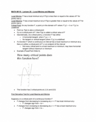 MATH-M 119 Lecture Notes - Lecture 25: Maxima And Minima, Microsoft Powerpoint