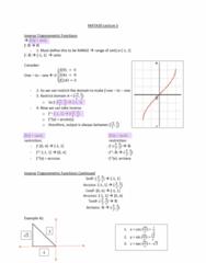 MATA30H3 Lecture Notes - Lecture 5: Trigonometric Functions, Inverse Trigonometric Functions