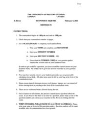 Economics 1022A/B Midterm: Economics 1022 Term Test 1 2011 Winter Solutions