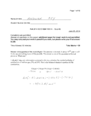 CHEM 1000 Quiz: CHEM1000 Quiz 2 2014 Fall
