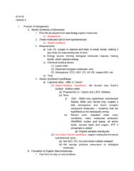 01:119:115 Lecture Notes - Lecture 4: Harold Urey, Stanley Miller, Abiogenesis