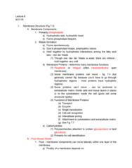 01:119:115 Lecture Notes - Lecture 6: Fluid Mosaic Model, Cytoskeleton, Phospholipid