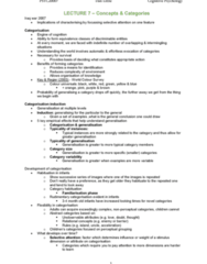 PSYC20007 Lecture Notes - Lecture 7: Habituation, Unobservable, Exemplar Theory