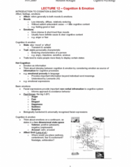 PSYC20007 Lecture Notes - Lecture 12: Paul Ekman, Emotion Classification, Stroop Effect