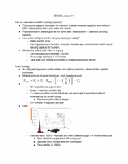 BIO205H5 Lecture Notes - Lecture 11: Carrying Capacity