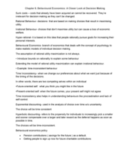 ECO100Y5 Lecture Notes - Lecture 7: Hyperbolic Discounting, Exponential Discounting, Sunk Costs